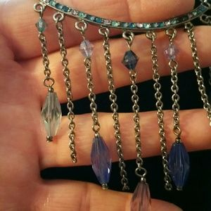 Purple and blue beads in silver tone necklace